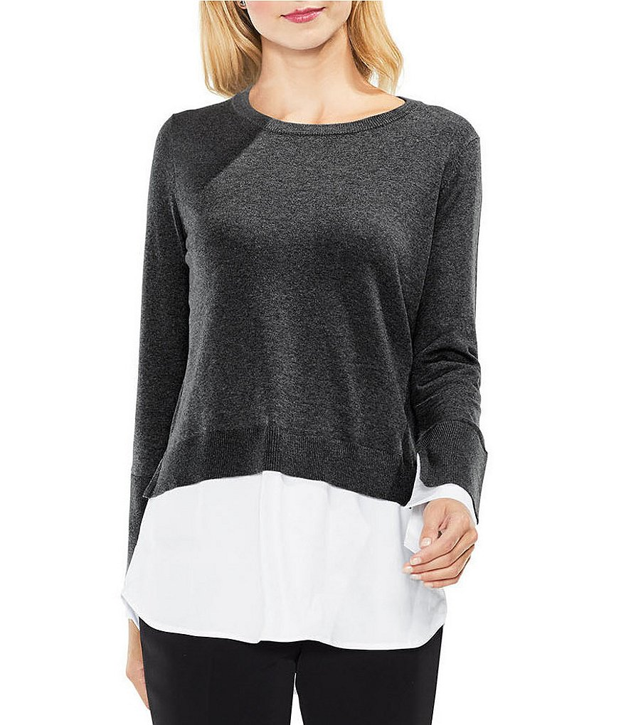 Vince Camuto Mixed Media Poplin Hem Sweater