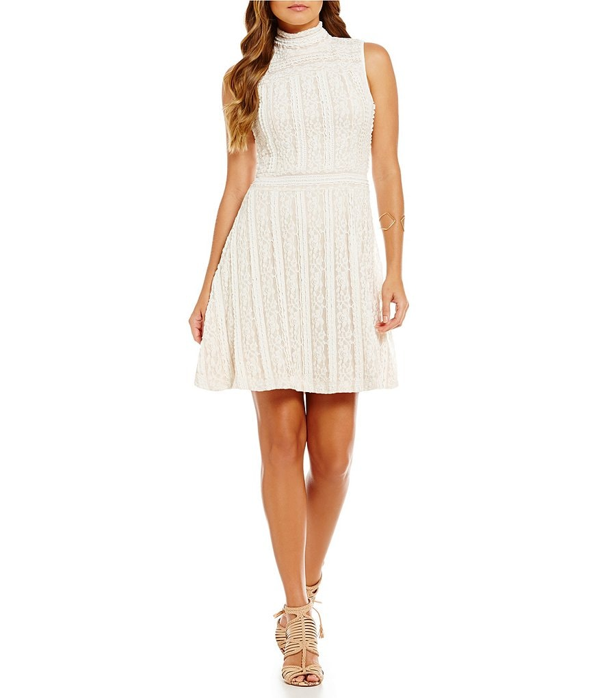 Vince Camuto Mock Neck Ruffle Lace Dress