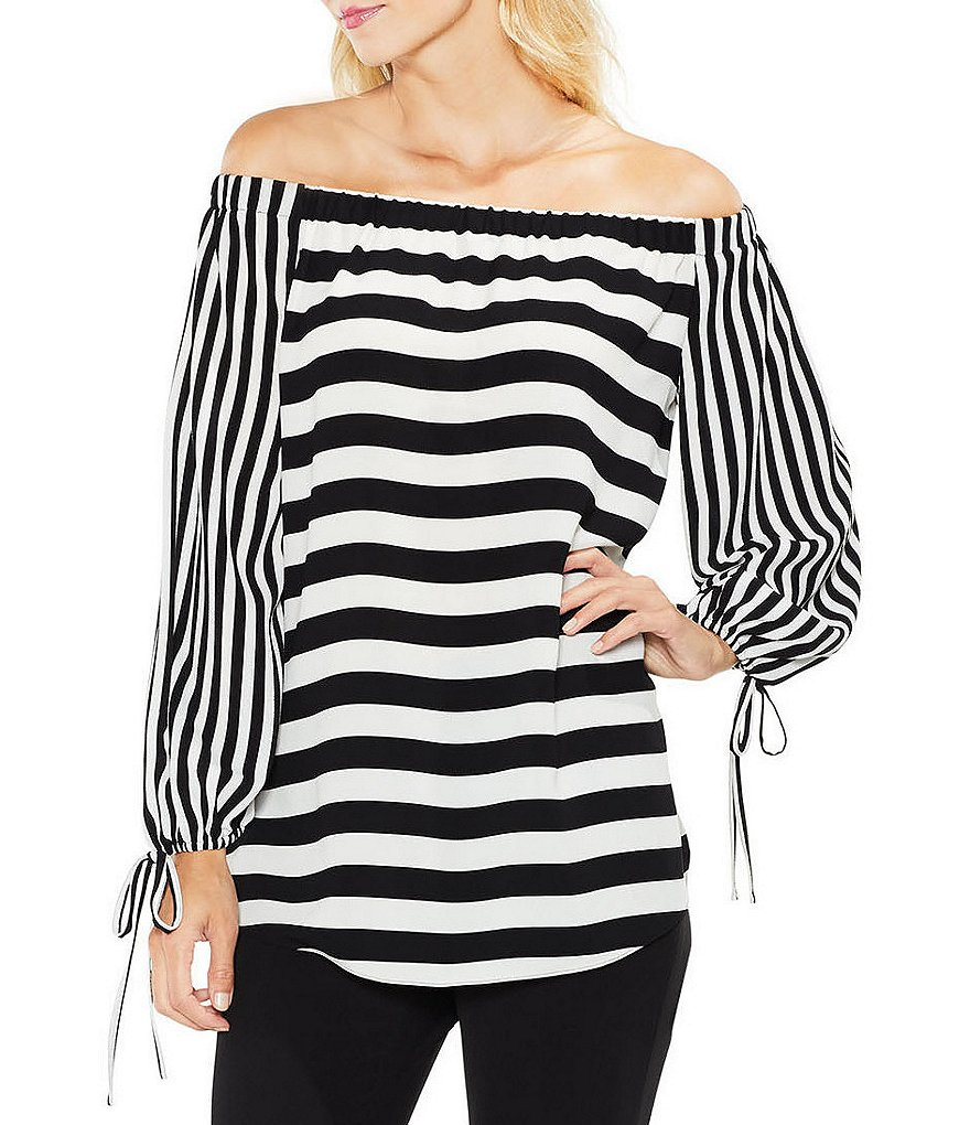 Vince Camuto Off-The-Shoulder Gathered Tie Sleeve Even Striped Blouse
