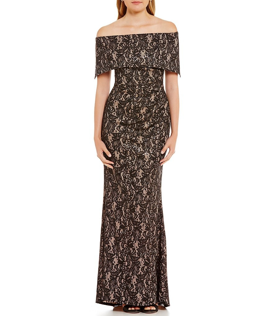 Vince Camuto Off-The-Shoulder Lace Gown | Dillards