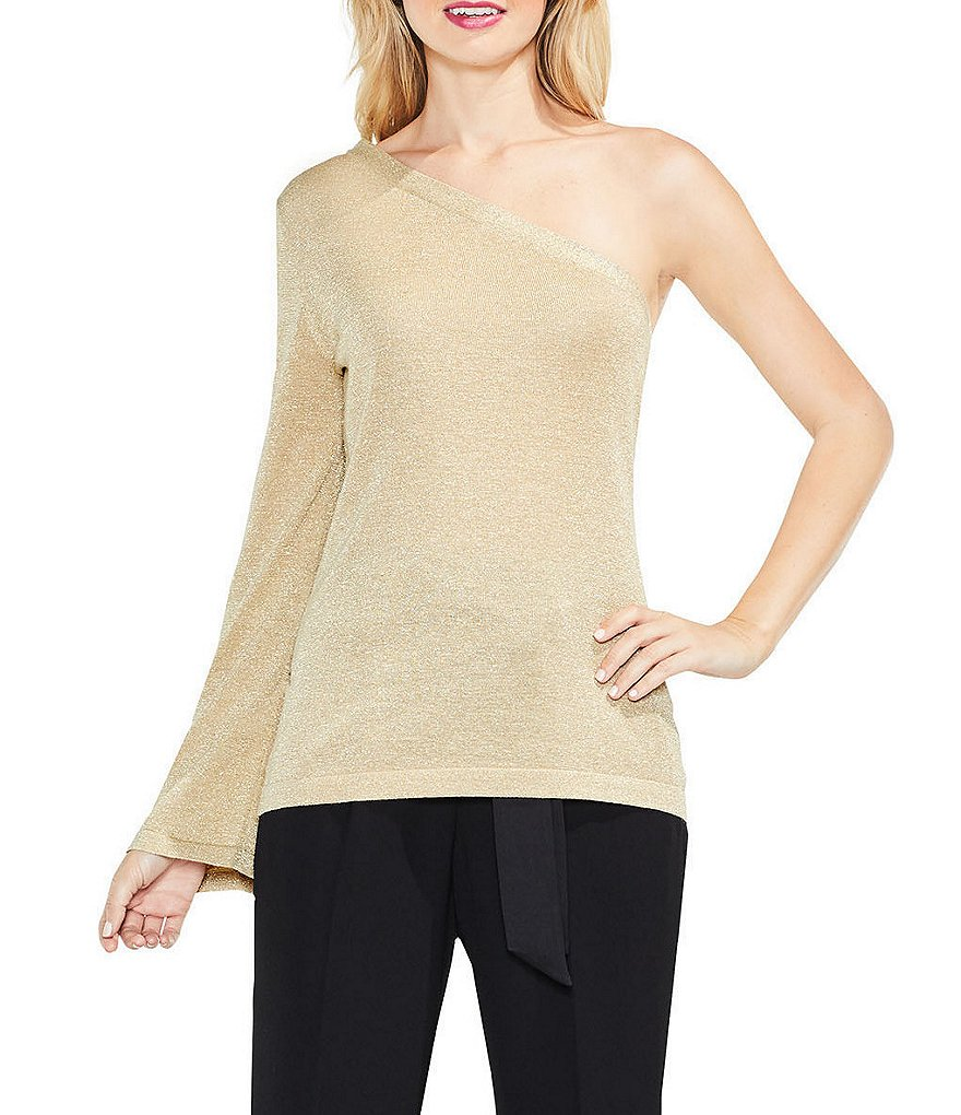 Vince Camuto One Shoulder Bell Sleeve Sweater