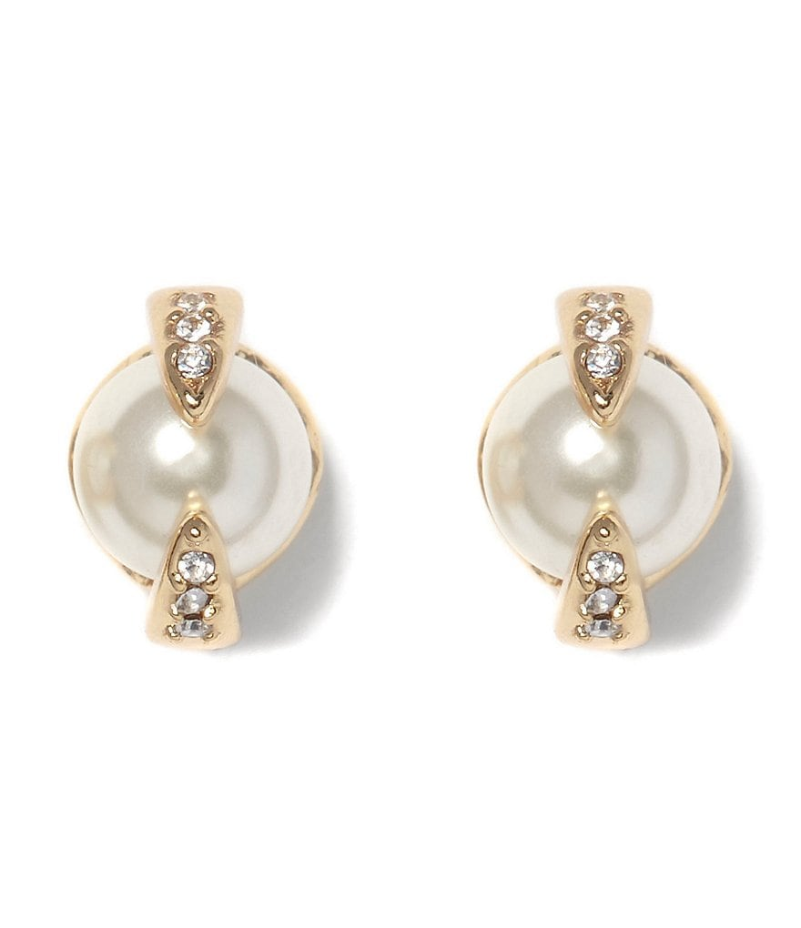 Vince Camuto Pavé Pearl Ball Stud Earrings