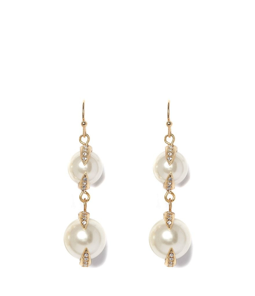 Vince Camuto Pavé Pearl Double Drop Earrings