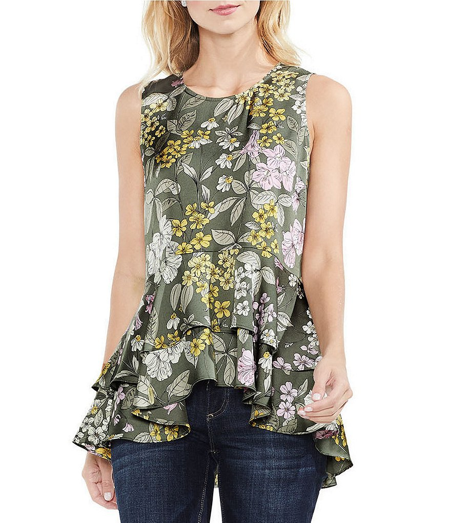 Vince Camuto Peplum Tiered Ruffle Hem Country Floral Print Blouse
