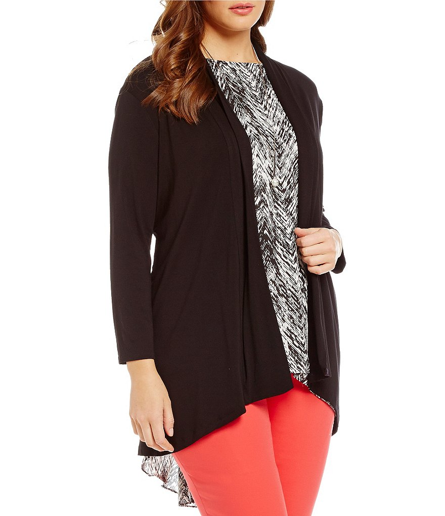 Vince Camuto Plus 3/4 Sleeve Knit Tunic Cardigan