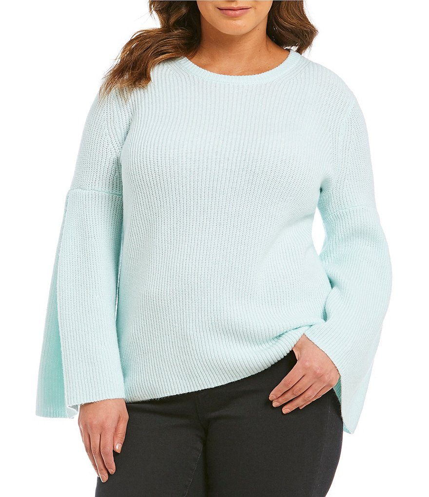 Vince Camuto Plus All Over Rib Bell Sleeve Sweater