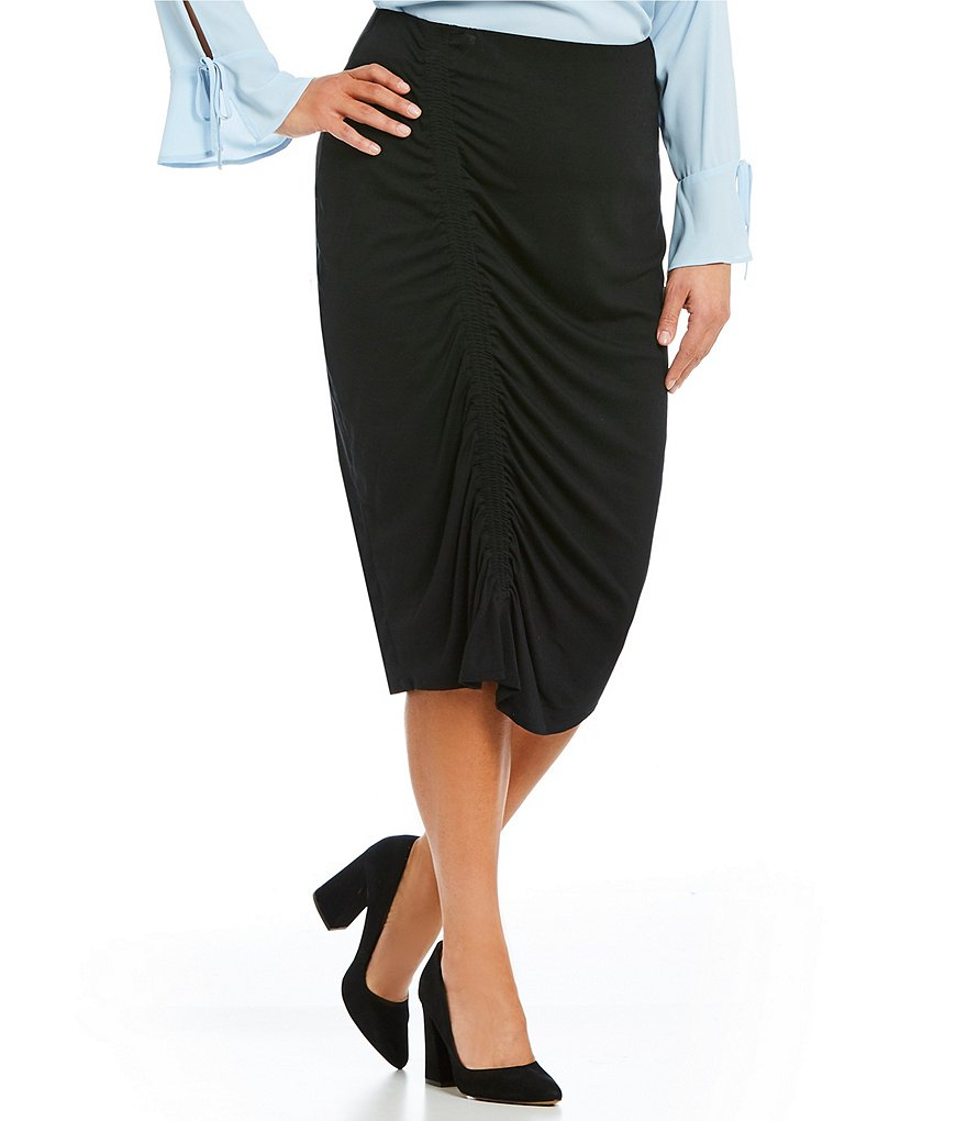 Vince Camuto Plus Asymmetrical Side Ruched Skirt