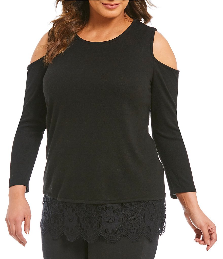 Vince Camuto Plus Cold-Shoulder Top With Lace Hem