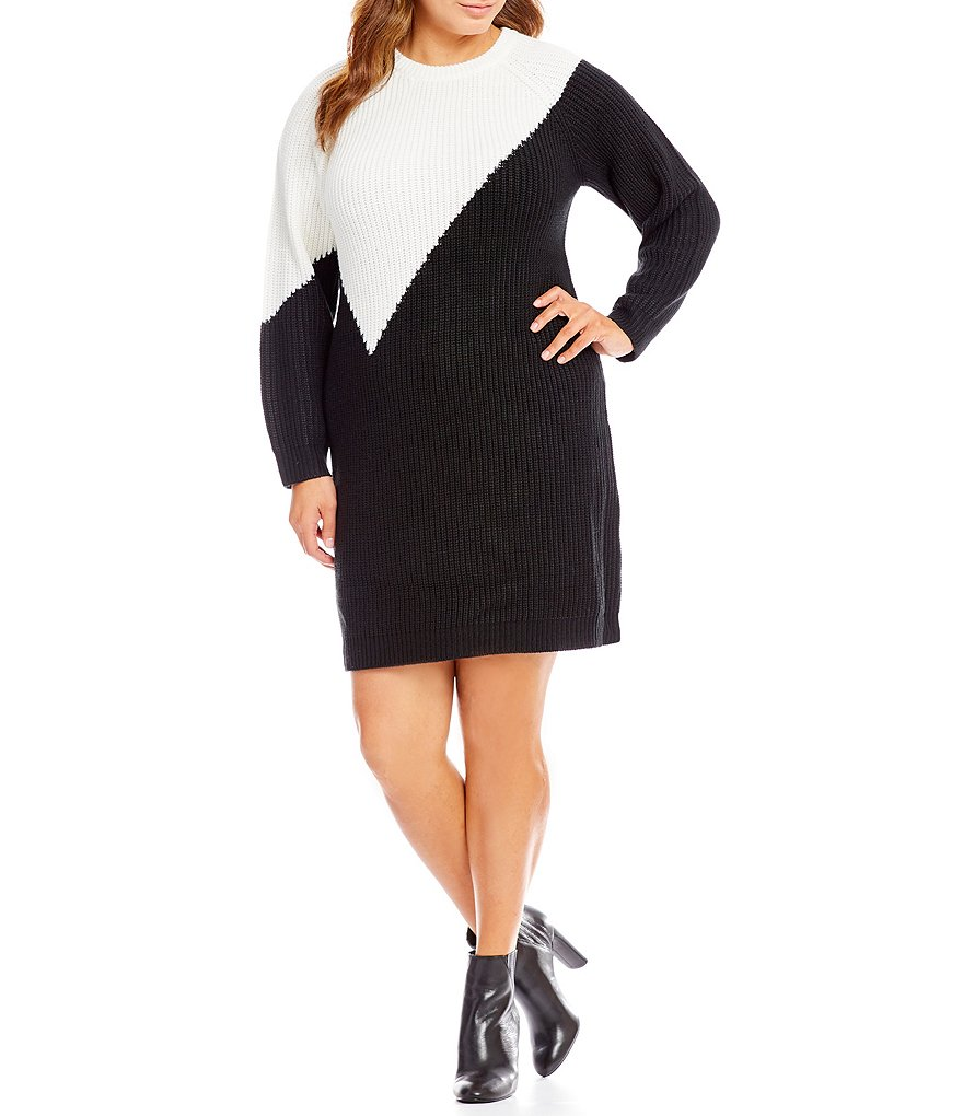 Vince Camuto Plus Colorblock Sweater Dress