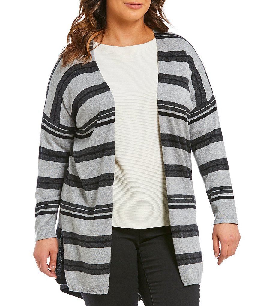 Vince Camuto Plus Colorblocked Striped Cardigan