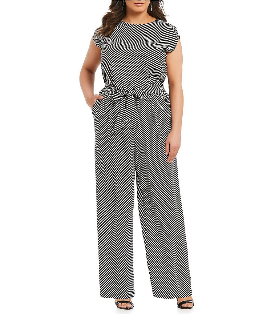 Vince Camuto Plus Diagonal Striped Jumpsuit