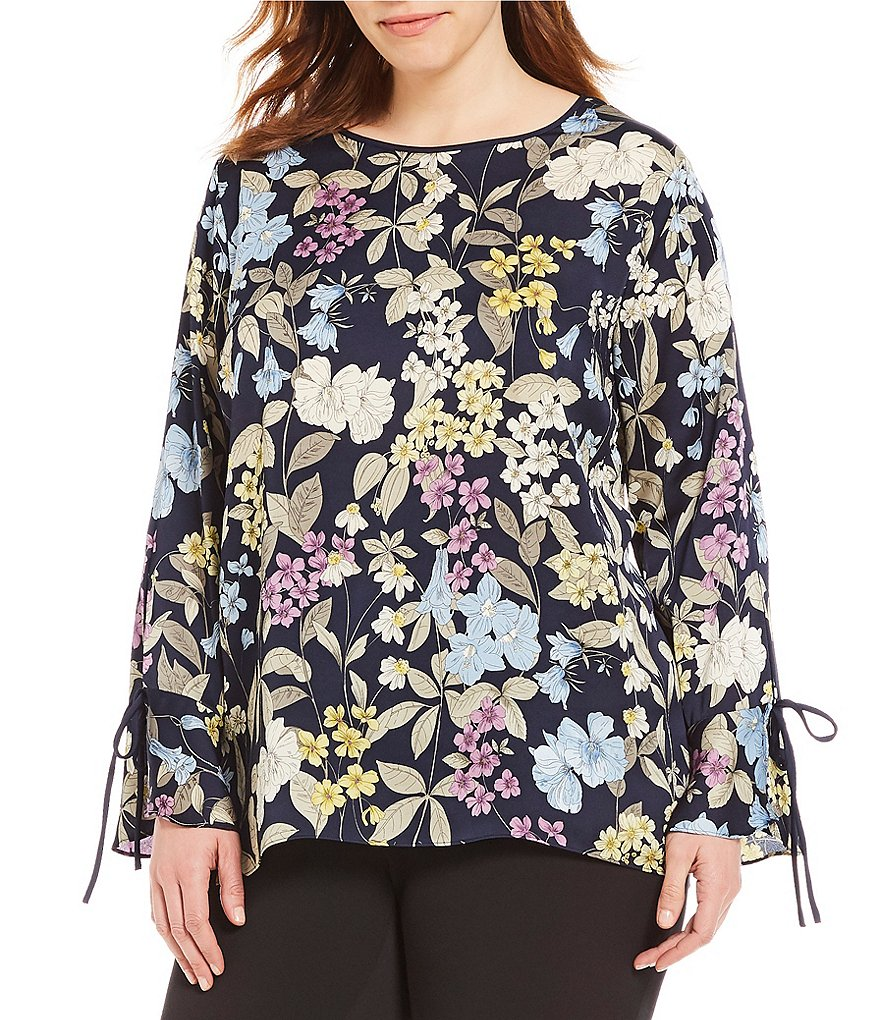 Vince Camuto Plus Flare Cuff Country Floral Print Blouse