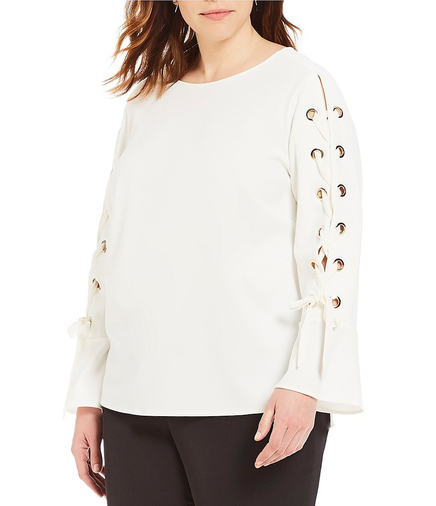 Vince Camuto Plus Lace Up Sleeve Flare Cuff Blouse