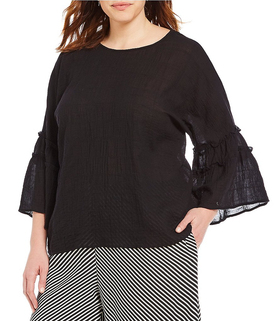 Vince Camuto Plus Pleated Sleeve Blouse