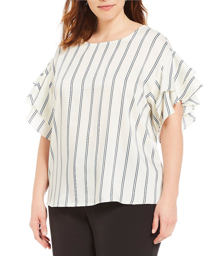 Vince Camuto Plus Ruffle Sleeve Stripe Theory Blouse