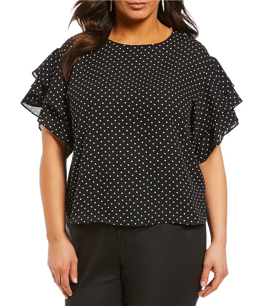 Vince Camuto Plus Size Poetic Dots Ruffle Sleeve Blouse