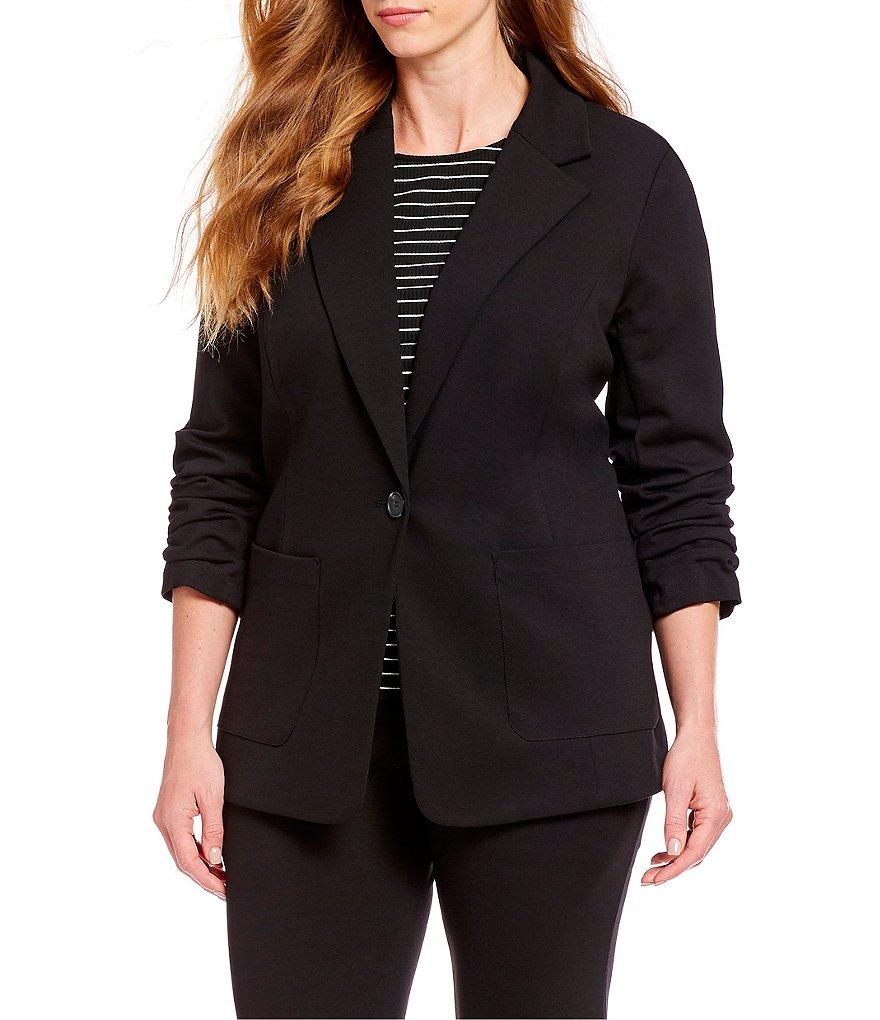c2b93e6c649c5 Vince Camuto Plus Size Ruched Sleeve Blazer