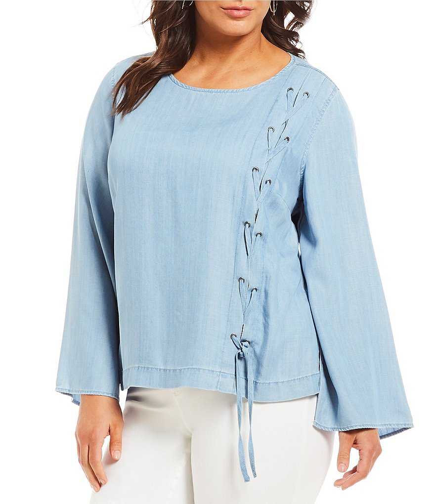 Vince Camuto Plus Size Side Lace Up Top