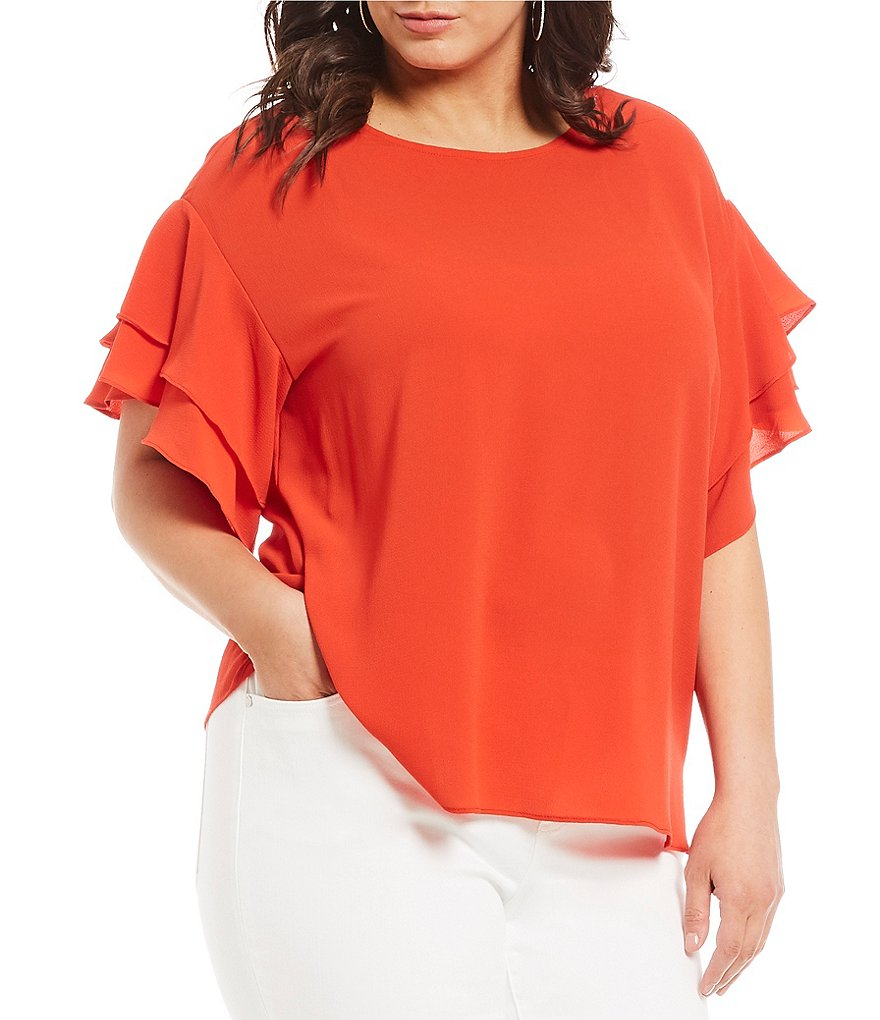 Vince Camuto Plus Size Tiered Ruffle Sleeve Blouse