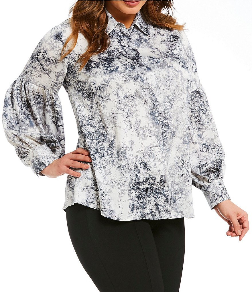 Vince Camuto Plus Speckle Atmosphere Blouse
