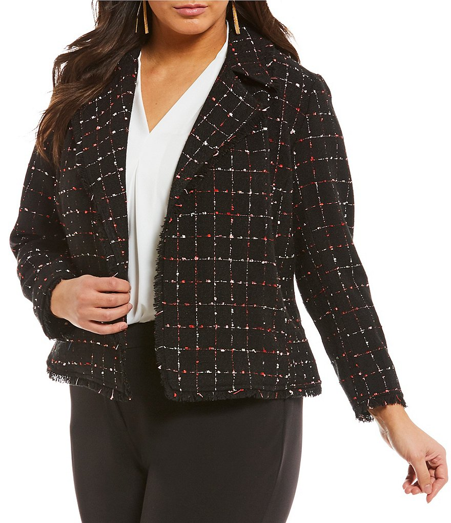 Vince Camuto Plus Spring Windowpane Tweed Blazer