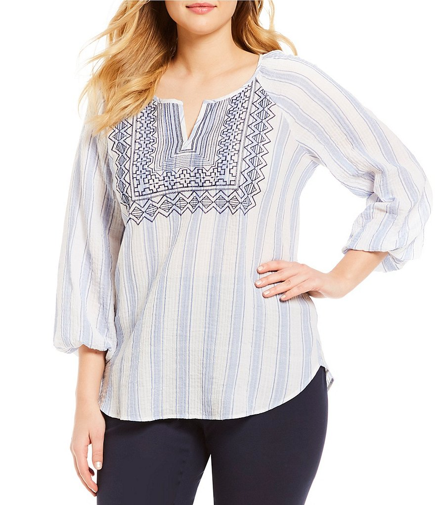 Vince Camuto Plus Striped Pucker Peasant Blouse