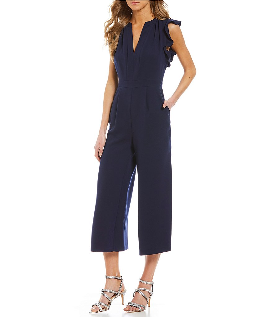 Vince Camuto Ruffle Sleeve Culotte Jumpsuit