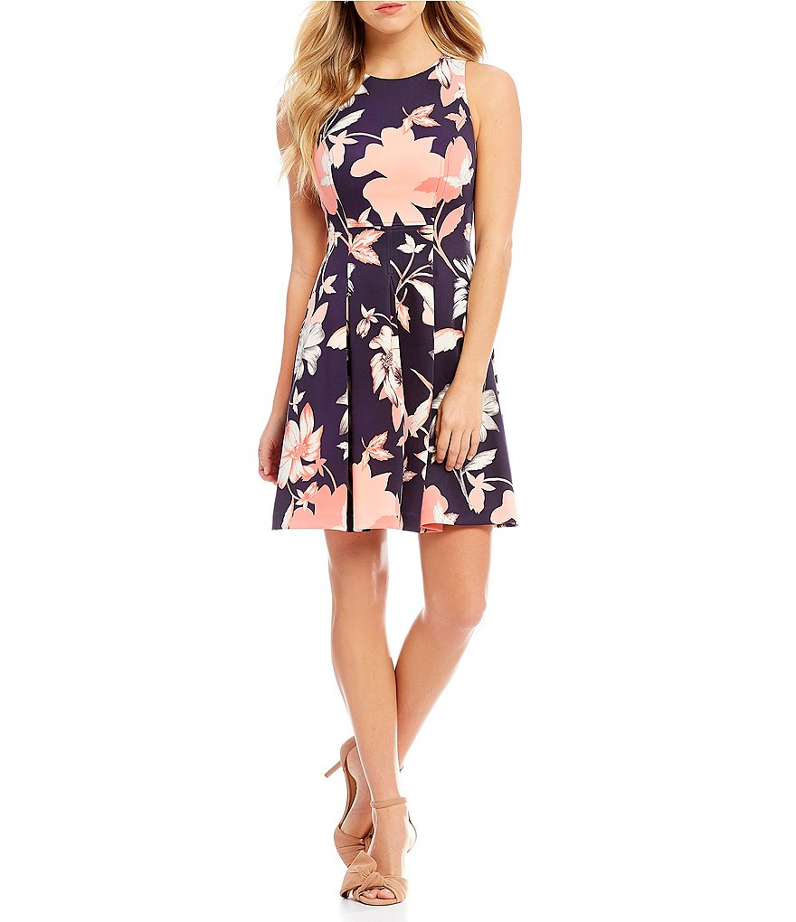 Vince Camuto Scuba Floral Print Fit And Flare Dress
