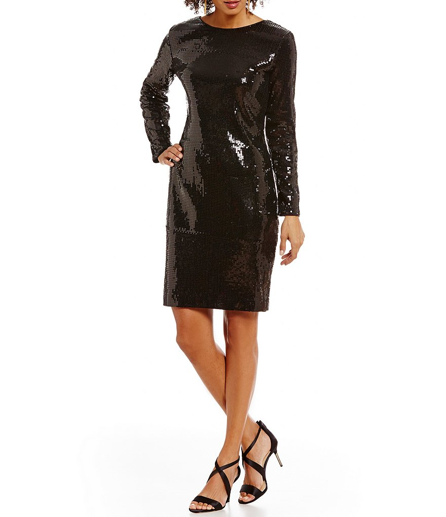 Vince Camuto Sequin Long Sleeve Sheath Dress