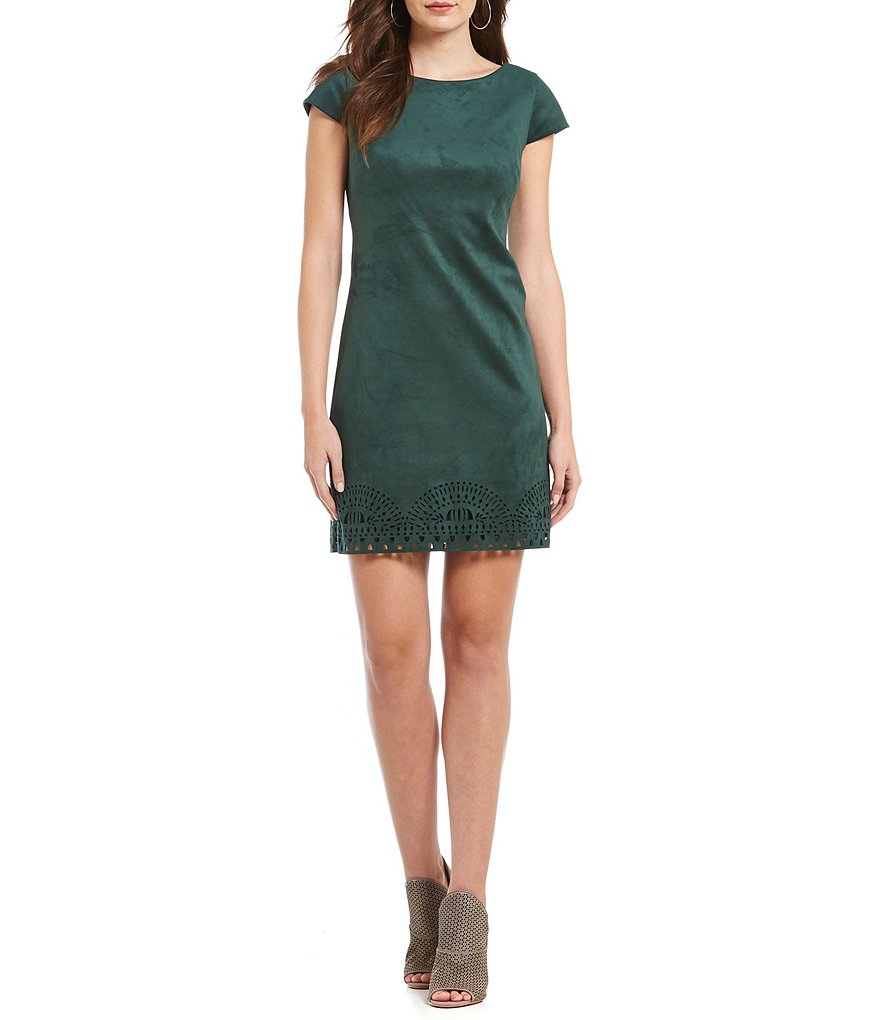Vince Camuto Short Sleeve Faux Suede Shift Dress
