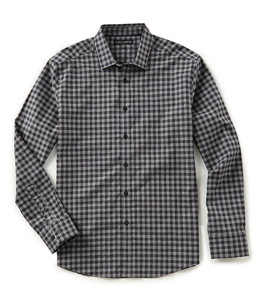 Vince Camuto Slim-Fit Dobby Check Long-Sleeve Woven Shirt