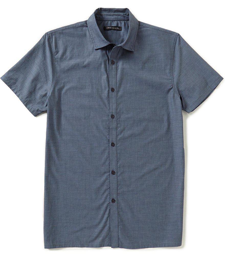 Vince Camuto Slim-Fit Mixed Media Short-Sleeve Solid Woven Shirt