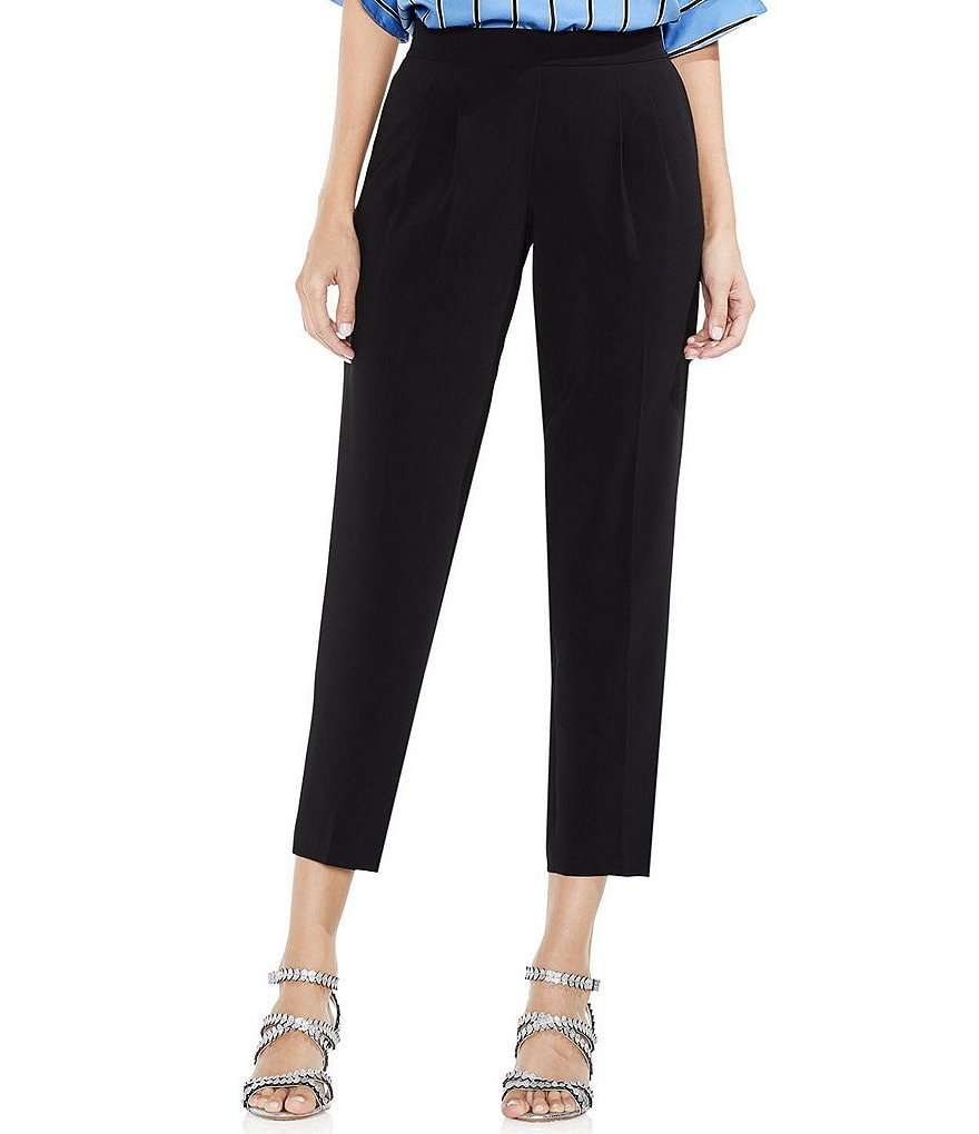 Vince Camuto Slim Leg Ankle Crop Front Pleat Milano Twill Pants