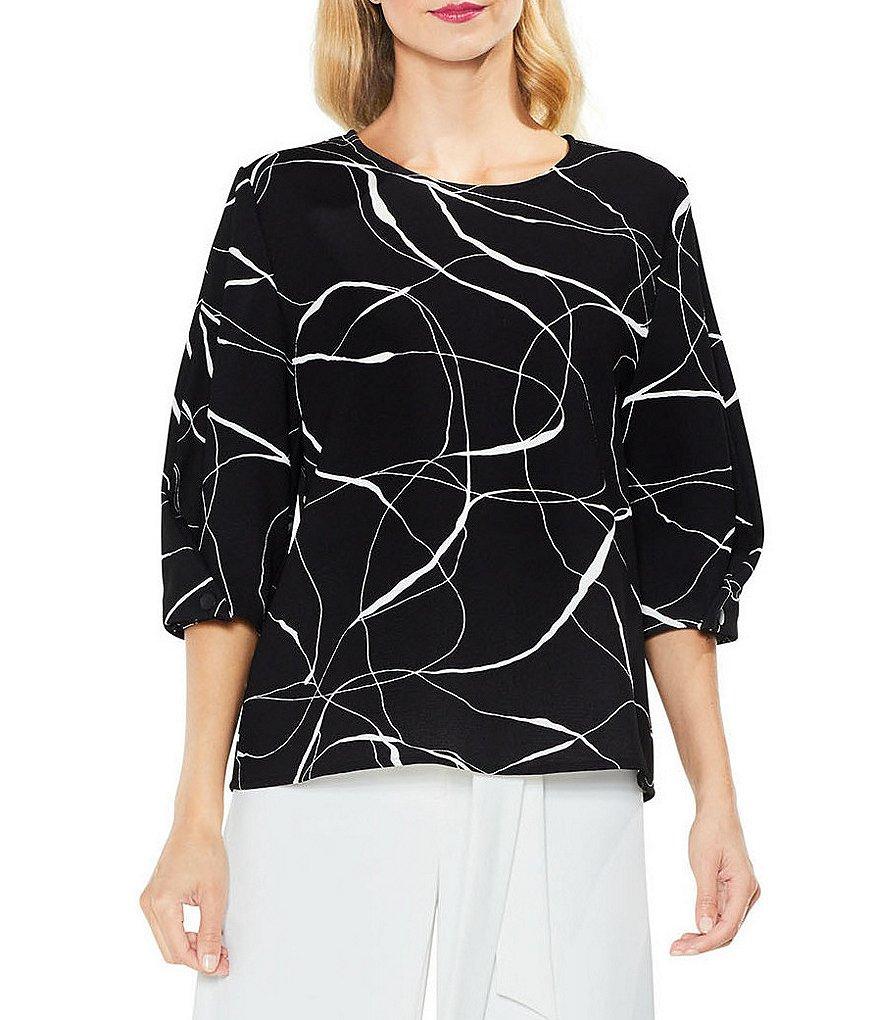 Vince Camuto Snap Puff Sleeve Ink Swirl Blouse