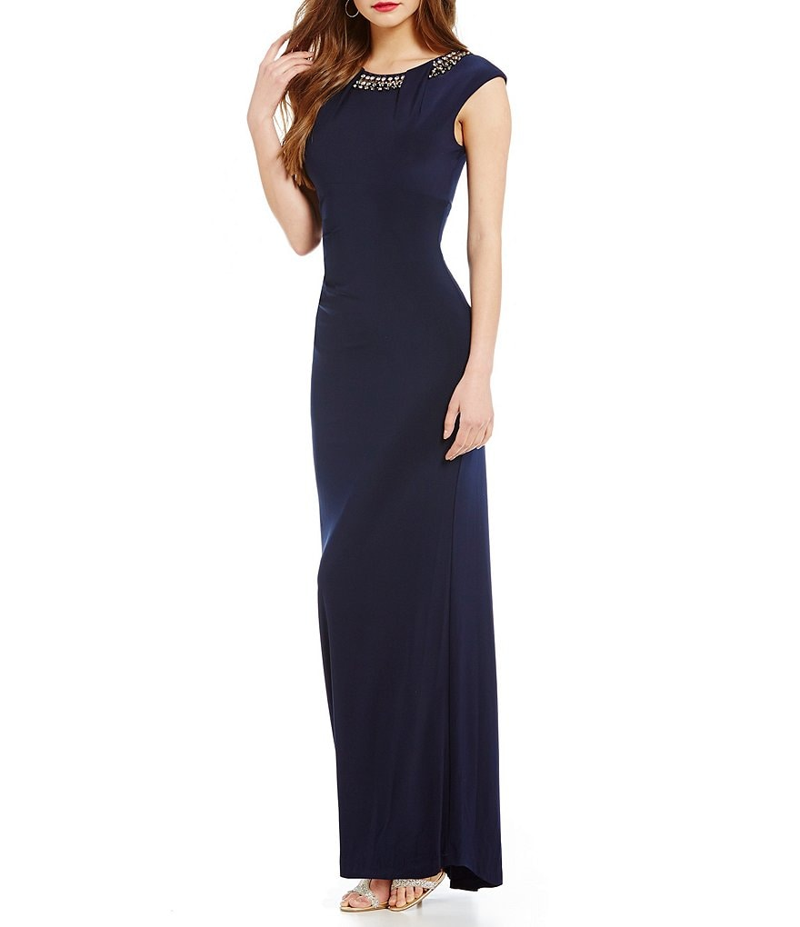 Vince Camuto Social Bead Ruched Gown