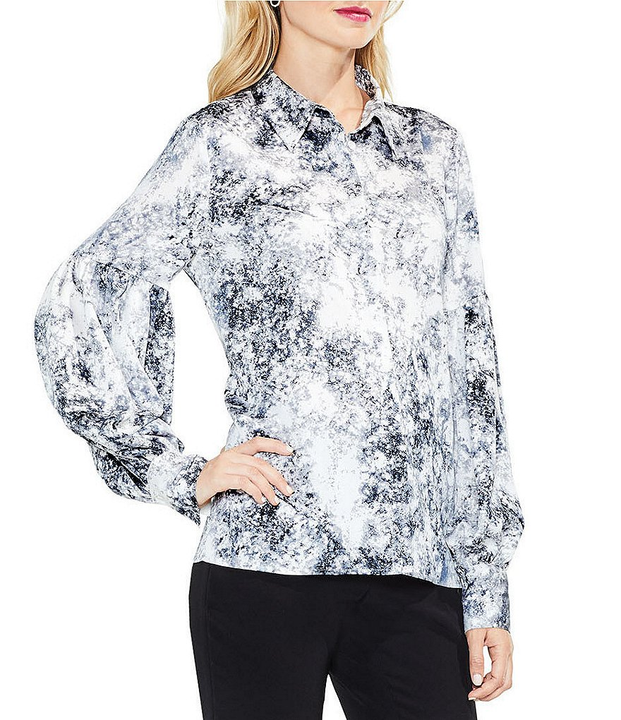 Vince Camuto Speckle Atmosphere Button Down Blouse