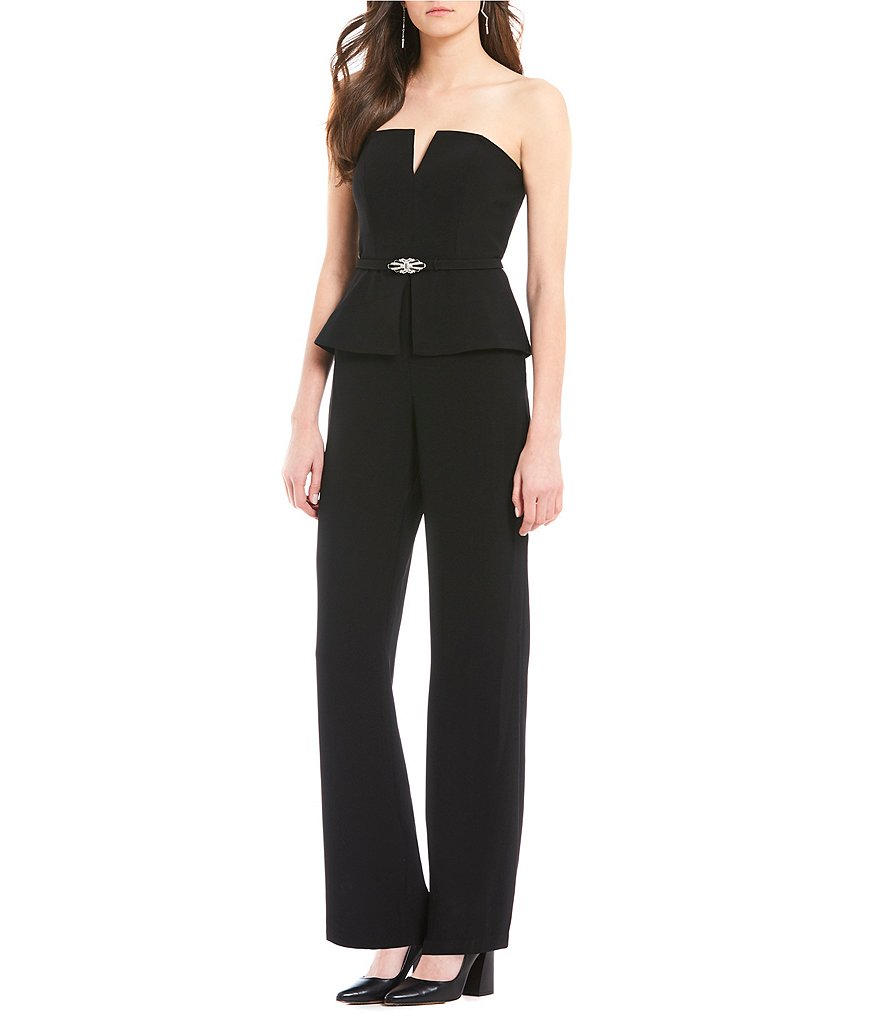 Vince Camuto Strapless Belted Jumpsuit