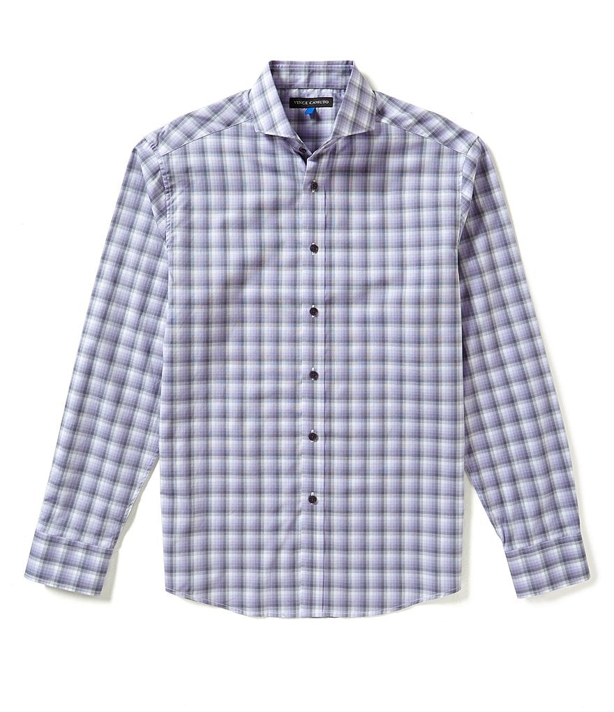 Vince Camuto Ombre-Checked Dobby Slim-Fit Long-Sleeve Shirt