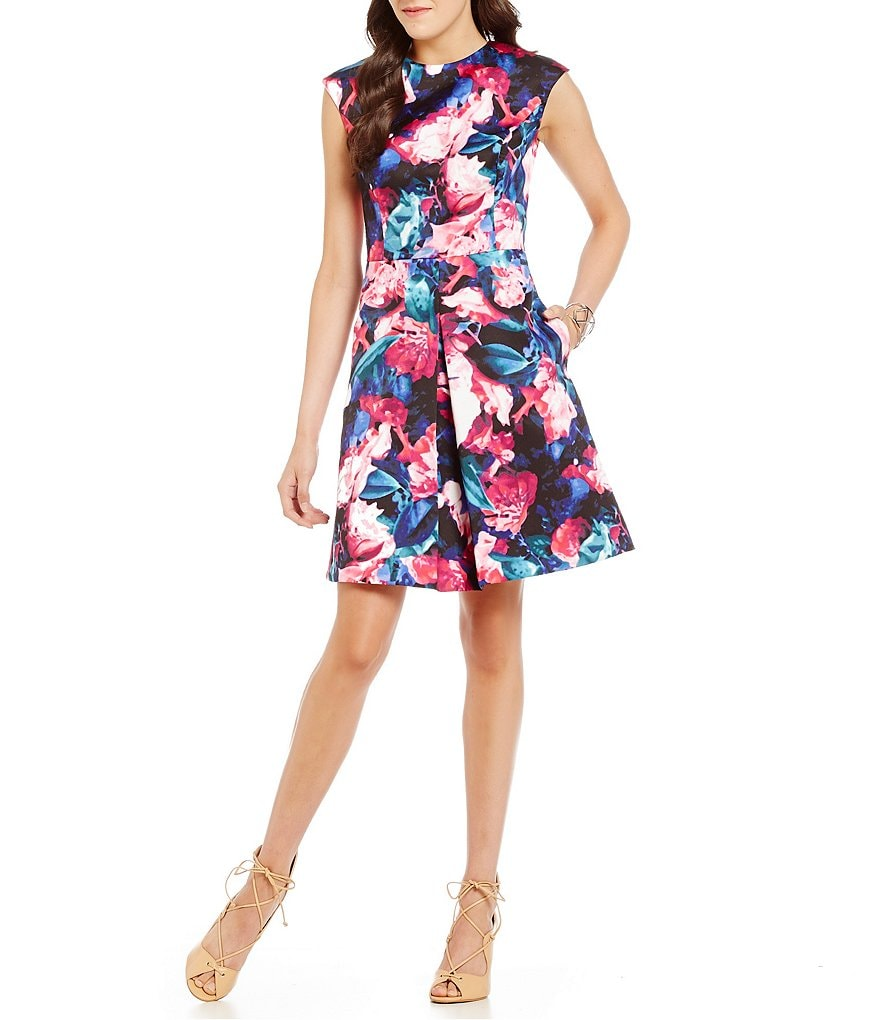 Vince Camuto Swirl Floral Flare Dress