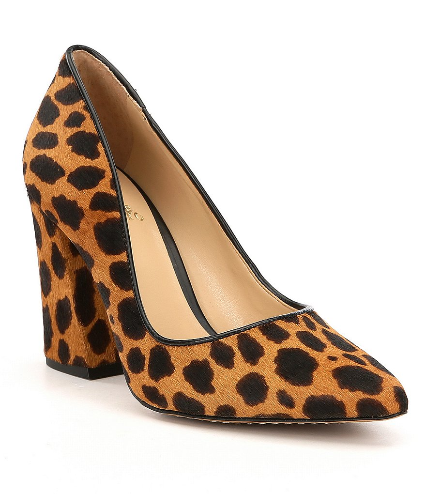 Vince Camuto Talise 2 Leopard Print Calf Hair Block Heel Pumps