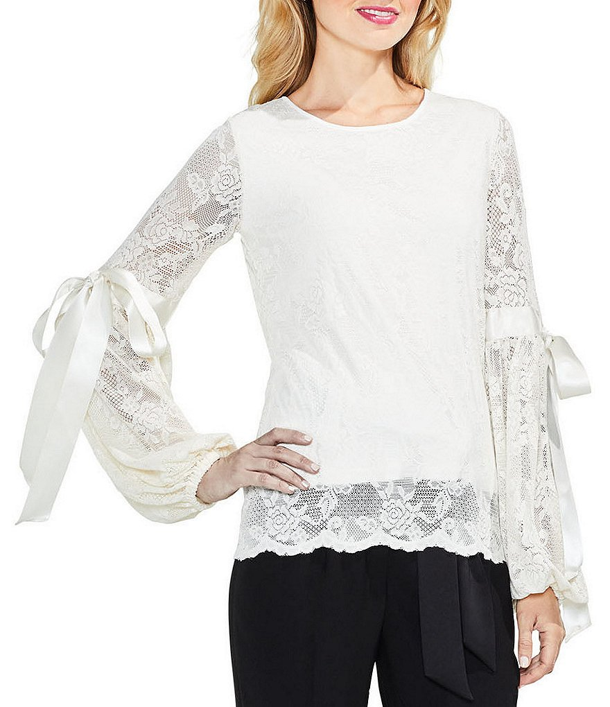 Vince Camuto Tie Detail Cuff Bubble Sleeve Blouse