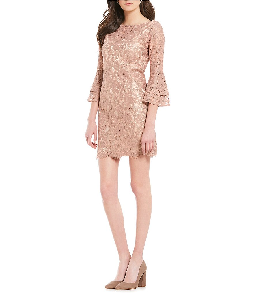 Vince Camuto Tiered Bell Sleeve Lace Dress