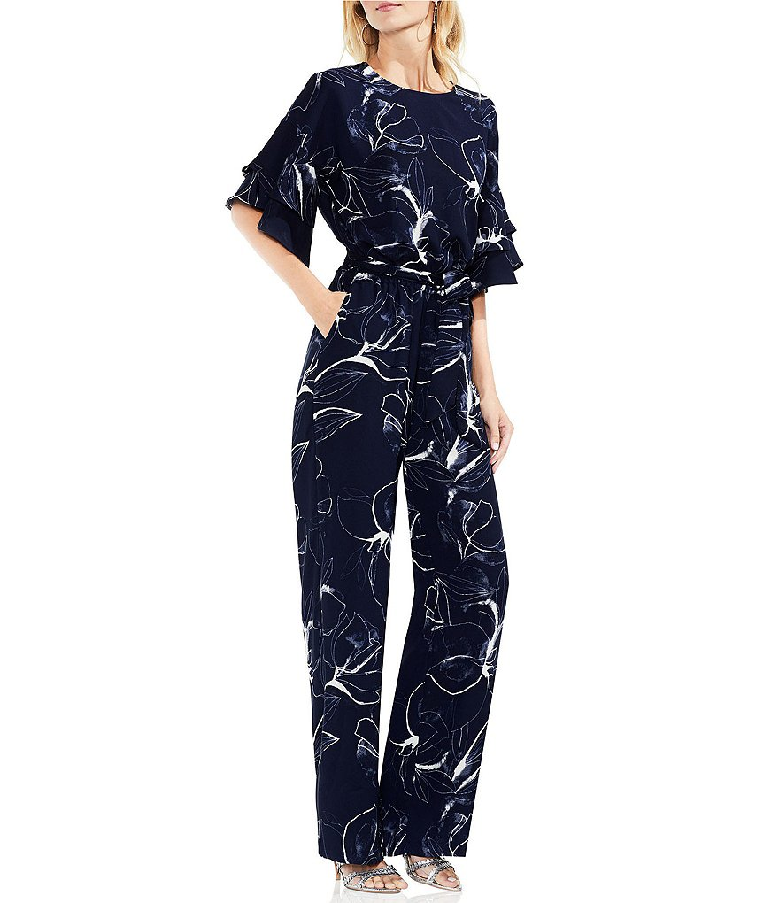 Vince Camuto Tiered Ruffle Sleeve Fresco Petals Belted Jumpsuit