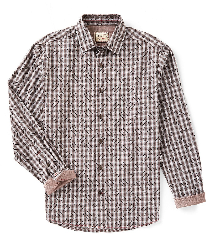 Vintage Italia Plaid Long-Sleeve Woven Shirt