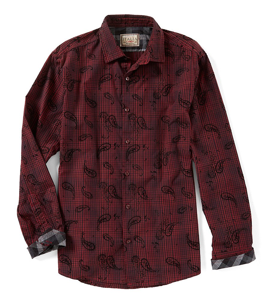 Vintage Italia Plaid Paisley Flock Long-Sleeve Woven Shirt
