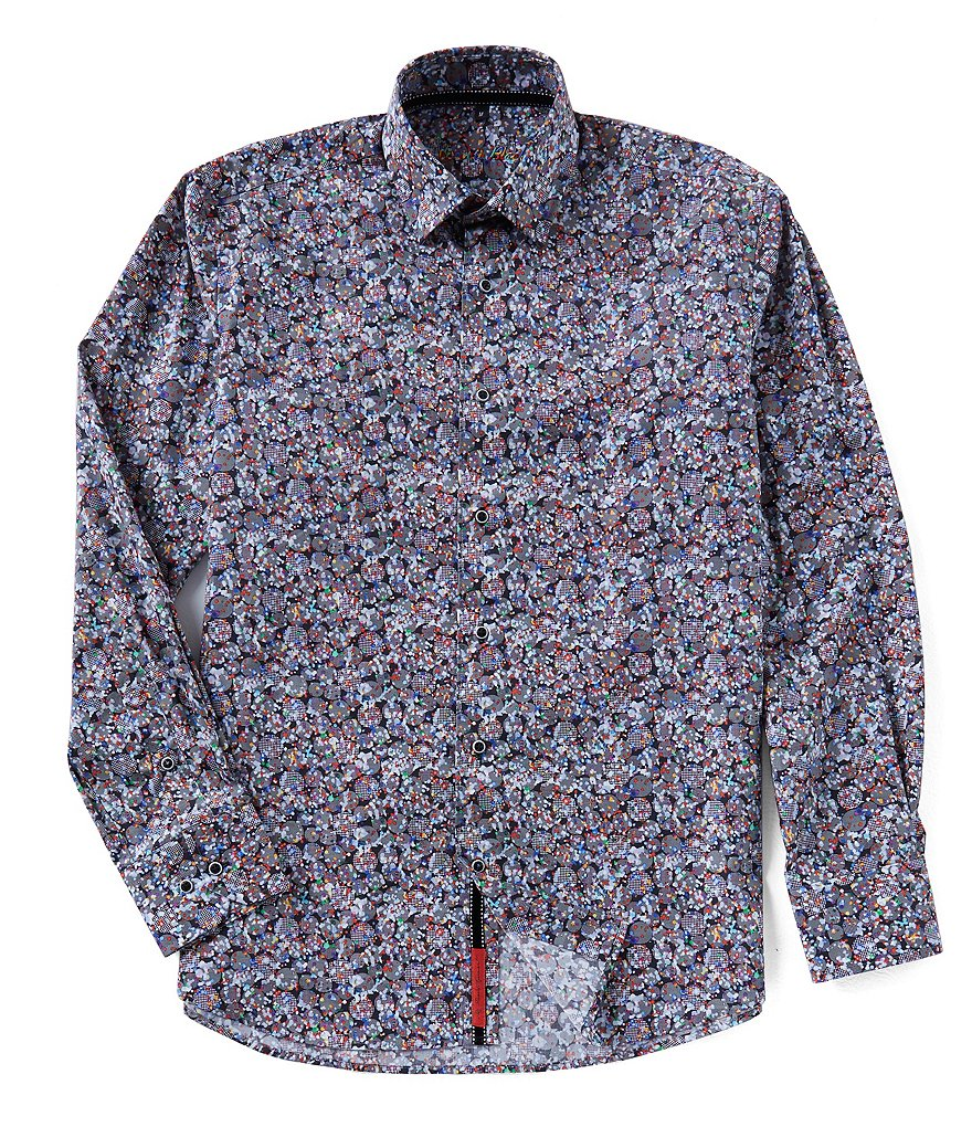 Visconti Big & Tall Abstract Dot Long-Sleeve Woven Shirt