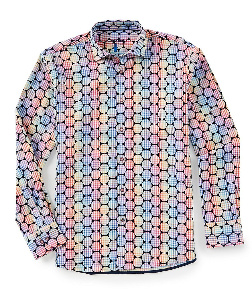 Visconti Flocked Multi-Circle Long-Sleeve Woven Shirt
