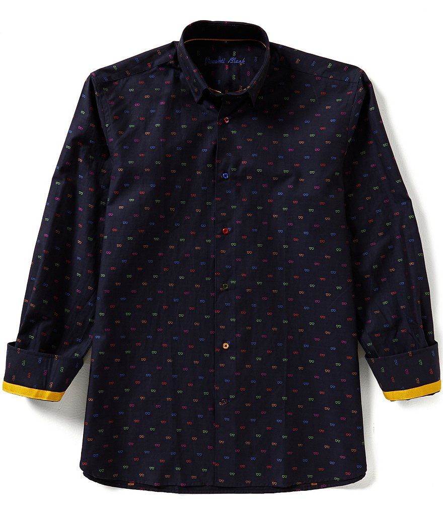 Visconti Long-Sleeve Repeating Sunglasses Print Woven Shirt