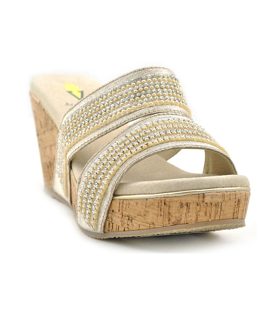 Volatile Candied Textile Banded Rhinestone Embellished Wedge Sandals