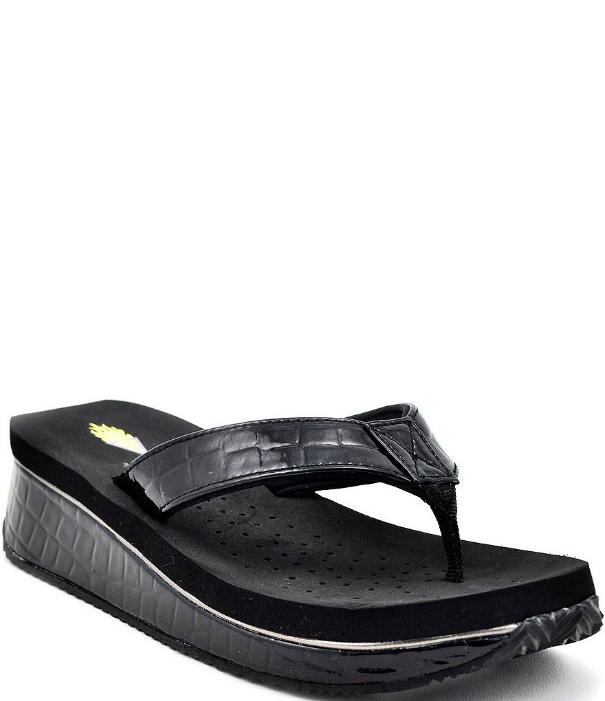 Volatile Down Under Croco-Embossed Wedge Flip-Flops